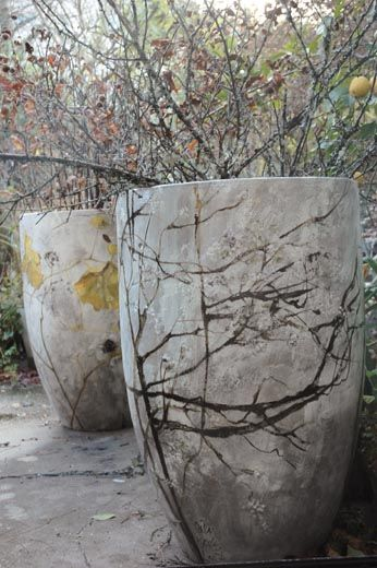 large flower pots- botanical prints/etching