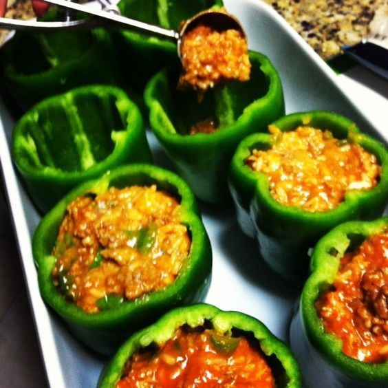 how to cut green peppers for stuffed peppers