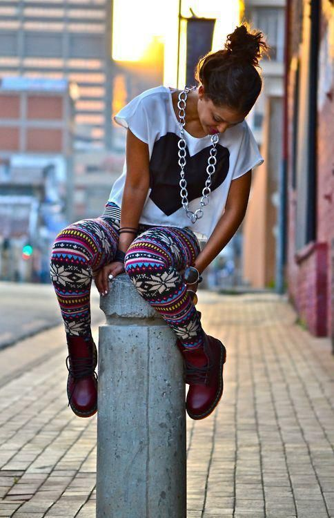 Like leggings. I have a lot of crazy legging patterns and want wild patterns in tops and pants  Love her Hair!!!