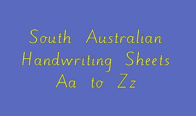 South Australian Handwriting Sheets Aa to Zz