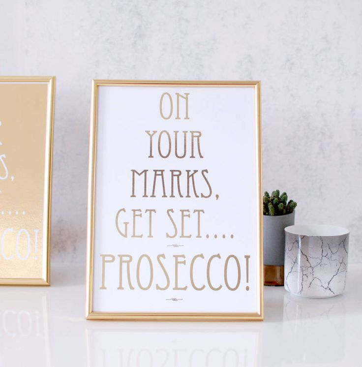 Gold Prosecco Personalised Print Wedding Sign