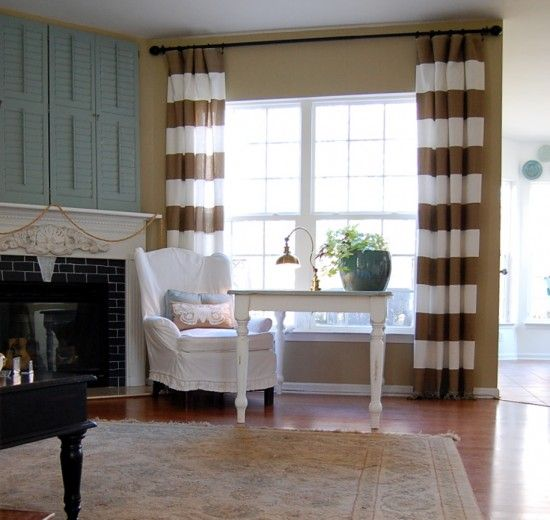 mantle and curtains: Rooms Idea, Living Rooms, Diy'S, Livingroom, Decoration Idea, Master Bedrooms, Horizontal Stripes Curtains, Striped Curtains, Windows Treatments