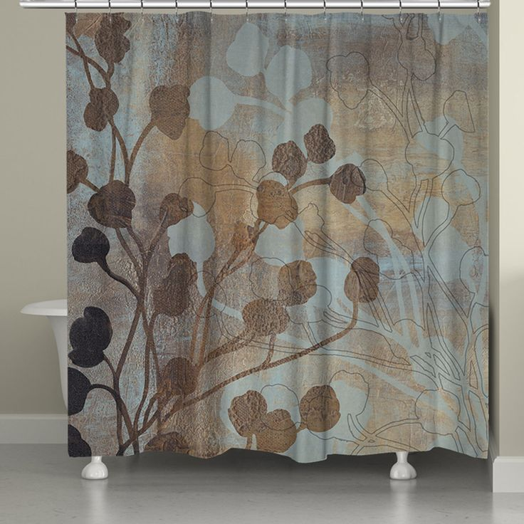 """The blue and gold color palette of Laural Home's """"Spa Blue and Gold Shower Curtain"""" will help create a relaxing, serene setting. This sophisticated, classy curtain is a must-have for any bathroom. All"""