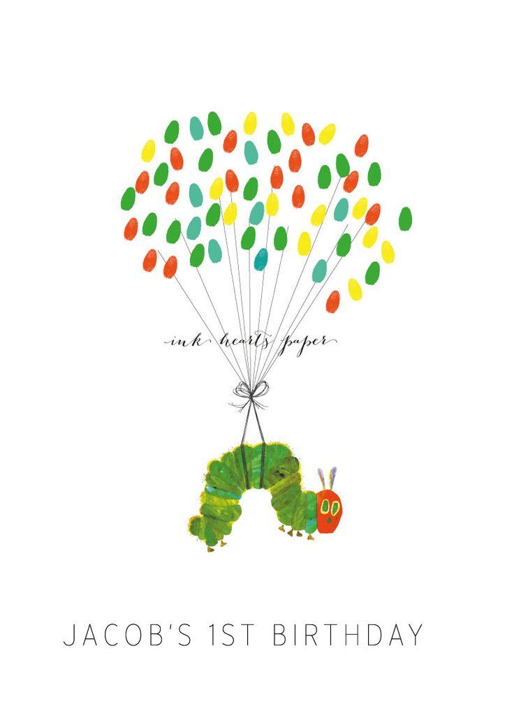 Hungry Caterpillar fingerprint guest book alternative via Etsy.