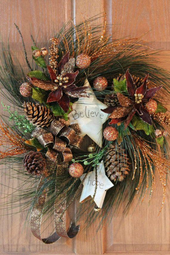 Believe & Hope Christmas Front Door Wreath by FloralsFromHome,