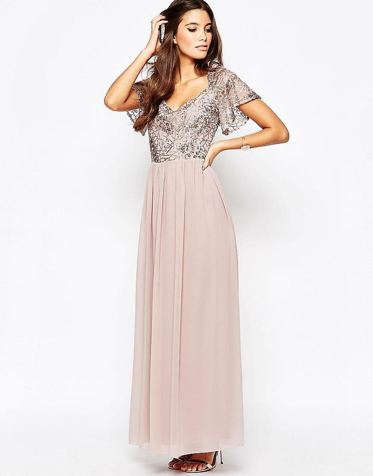 Little Mistress | Little Mistress Chiffon Maxi Dress With Sequin Top And Fluted Sleeve at ASOS