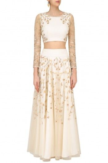 Bhaavya Bhatnagar Ivory Floral Beads Embroidered Blouse and Skirt Set #happyshopping #shopnow #ppus