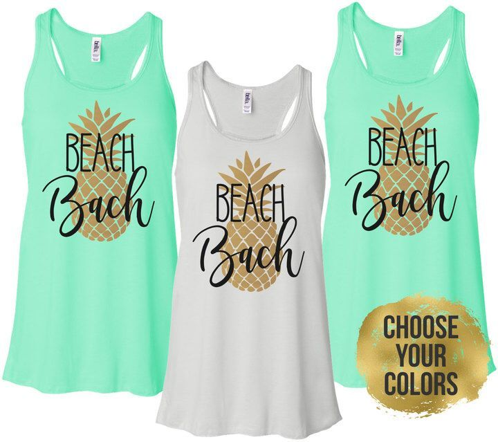 Etsy Beach Bachelorette Tanks, Pineapple Bachelorette Party Shirts, Bride and Bridesmaid Beach Shirts (BR