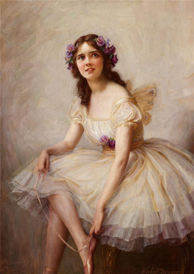 Ballerina. Herbert James Draper (British, 1863-1920). Draper is best known for his dramatic and romantic paintings of sweeping mythological and literary subjects. His work displays a keen sense of drama and color, with subjects or entire art works depicted in a singular, closely related color . Although almost reaching a point of being monochromatic, Draper's color style is clearly defined and brings about a dream like feeling. Ballerina is a primary example of Draper's color use.