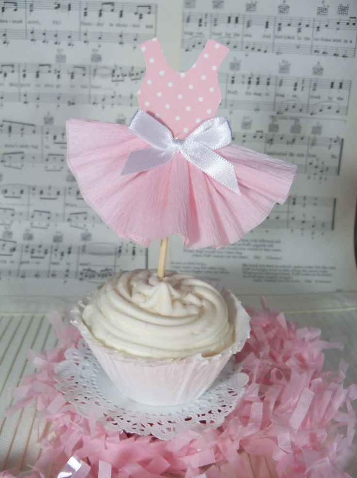 Birthday Decoration Party Dress Cupcake Toppers for Ballet or