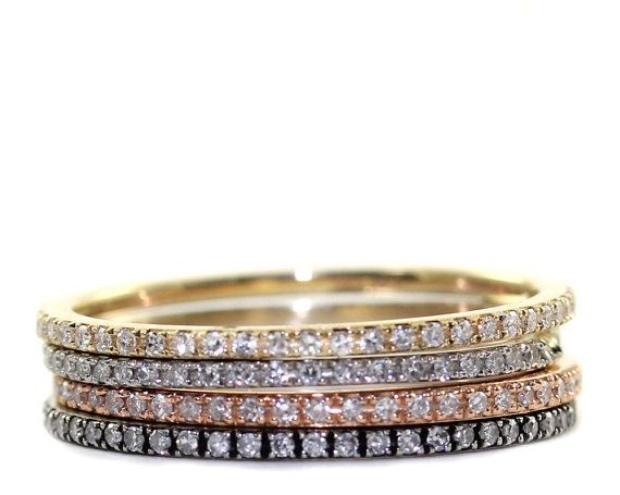 Micropave diamond Ring Stacking Ring Engagement by Tulajewelry