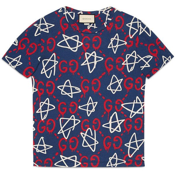 Gucci Guccighost T-Shirt ($395) ❤ liked on Polyvore featuring men's fashion, men's clothing, men's shirts, men's t-shirts, men, ready to wear, tshirts & polos, mens patterned shirts, gucci mens t shirt and mens print shirts