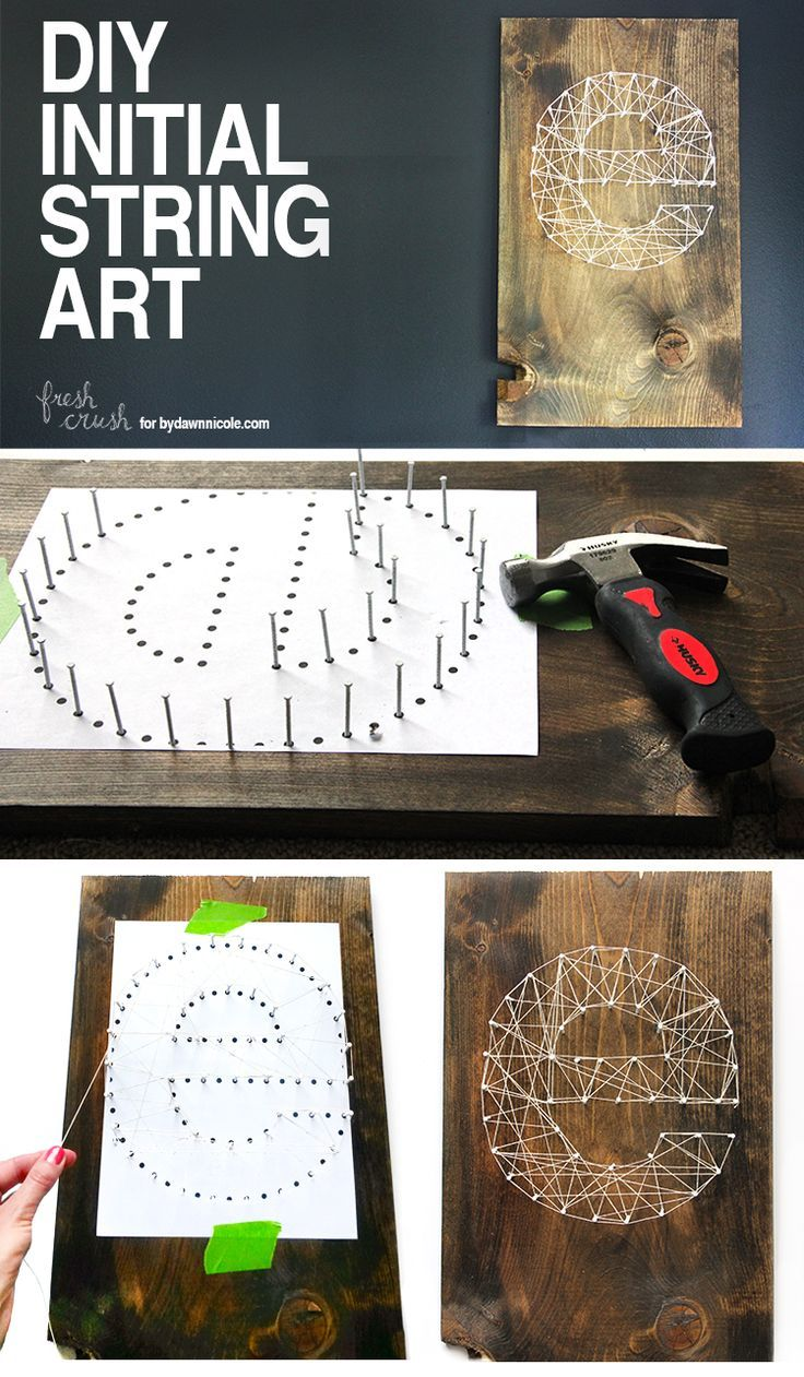 Take 20 minutes and create this beautiful, DIY Initial String Art (full tutorial + video)! Only a few supplies needed for this project full of personality -- and it makes a great house-warming gift! Fresh Crush for DawnNicoleDesigns.com