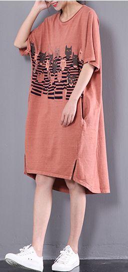 2017 new love cats linen shift dresses  plus size casual dress orange o neck sundress