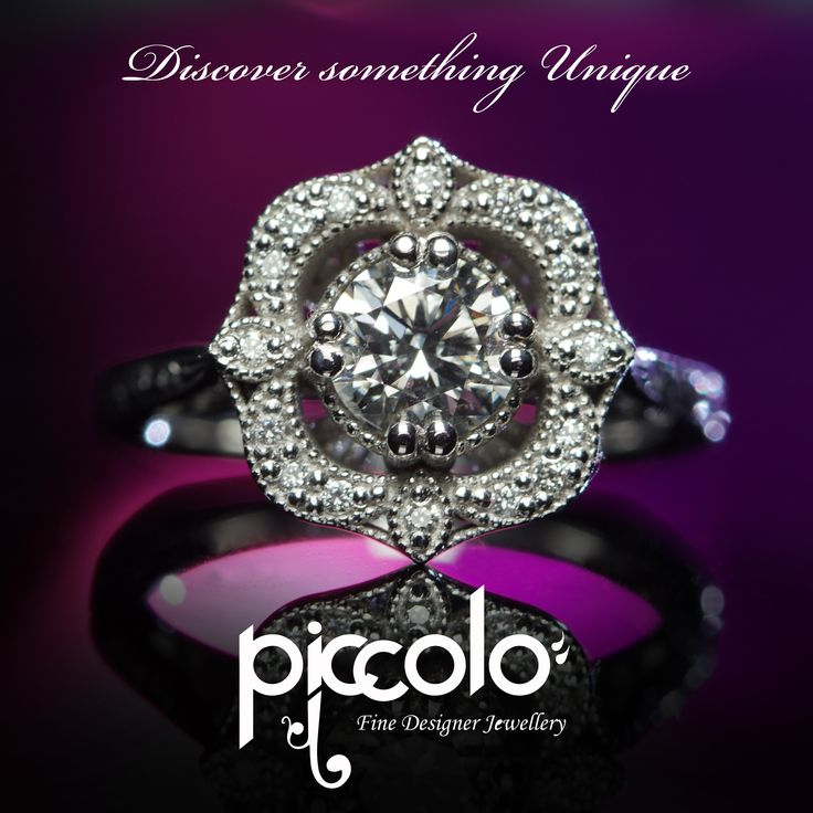 "Yvette | White Gold detailed Wedding ring set with Brilliant Round Cut Diamonds and finished with intricate hand-engraving. ""Every jewellery piece tells a story"". Let your own jewellery tell a story… 