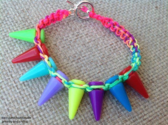 Kawaii rainbow punk macrame bracelet with spikes,neon/fluorescent colors,gothic lolita, multicolor friendship bracelet ,stack bracelet,hemp
