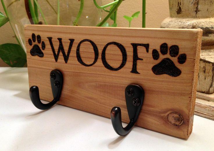 WOOF Paw Print Wood Burning Leash Hanger/ Rustic / Very cute dog leash holder/hook. $18.00, via Etsy.