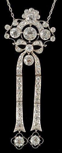 An Edwardian pendant set in platinum with fine quality diamonds, circa 1910.