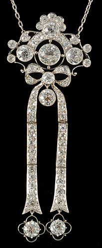 John Joseph Pendants                  platinum set fine quality diamond Edwardian long drop pendant stunning piece 1910c