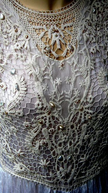 "Dress Chebbi - chic ""Pearl"" boho style, made of natural silk The dress is decorated with old antique lace overlay, embroidered creamy pink river pearls.Sold."