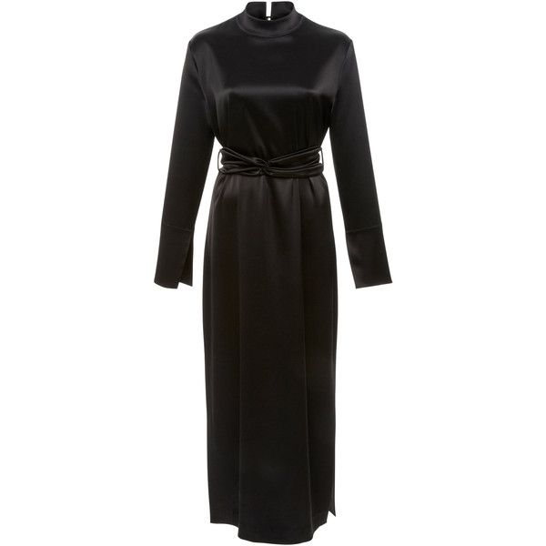 Sadie Tech Satin Midi Dress | Moda Operandi ($435) ❤ liked on Polyvore featuring dresses, mock neck dress, side slit dress, calf length dresses, mid calf dresses and midi dress