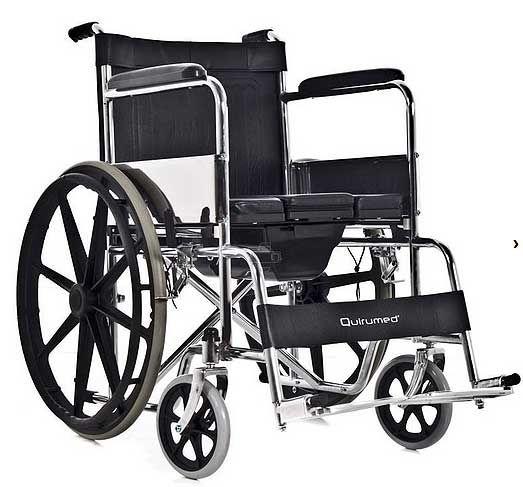 Silla de ruedas inodoro Quiru Silla de ruedas plegable con inodoro autopropulsable de acero y ruedas traseras grandes. Mas información en: http://www.sci-geriatria.com/catalogo/sillas-ruedas/plegables/acero/inodoro/ Artículo subvencionado