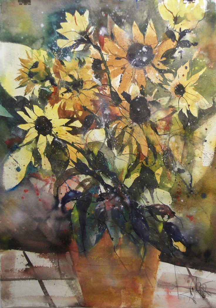 Sonneblumen, Watercolor 132/93 cm