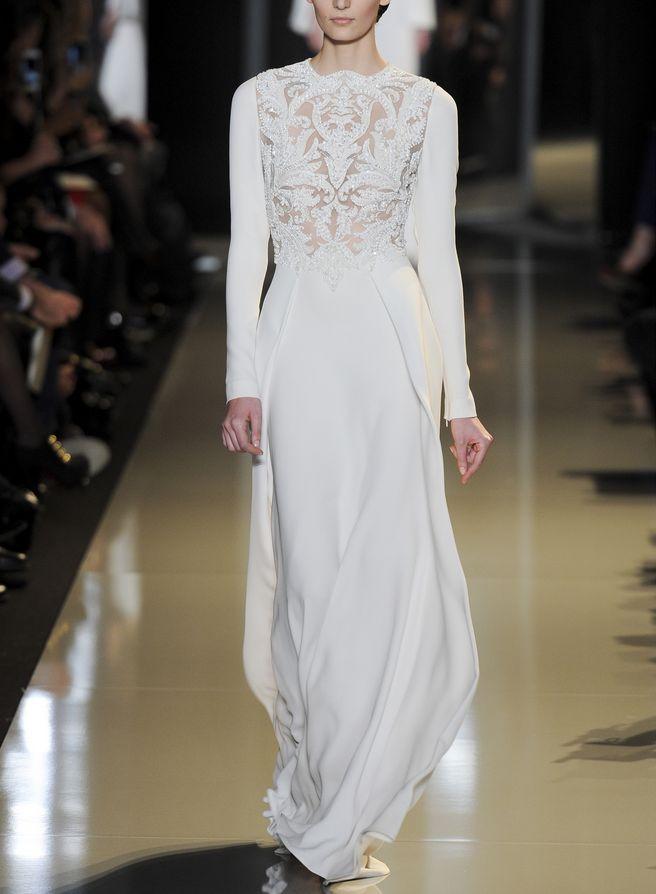 Long Sleeve wedding gown. elie saab, fashion, parisfashionweek, pfw, spring 2013 couture,