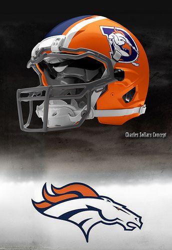 I absolutely LOVE this concept for an alternate Denver Broncos helmet.
