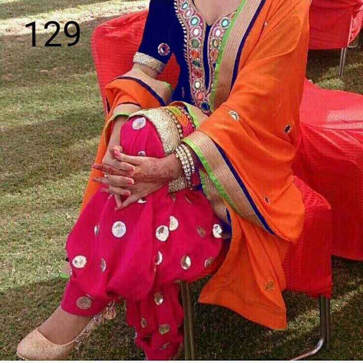 Designer Blueand Pink Cotton Embroidered Patiala Suit