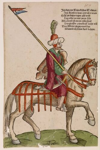 c. 1530 Niklas Stoer - Turkish Nobleman on Horseback.  The print run of Mercenaries and Turks is a fine example of the unprecedented growth of printing during the German Renaissance. In the first series it is 'mercenaries', German and Swiss mercenaries who traveled to various European battlefields. The second set shows of Turkish soldiers and leaders of the Ottoman Empire. The two series together, 38 sheets, were a kind of counterparts around 1530 by a number of Nuremberg artists.