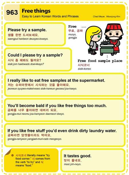 Easy to Learn Korean 963 - Free Things. Chad Meyer and Moon-Jung Kim EasytoLearnKorean.com An Illustrated Guide to Korean