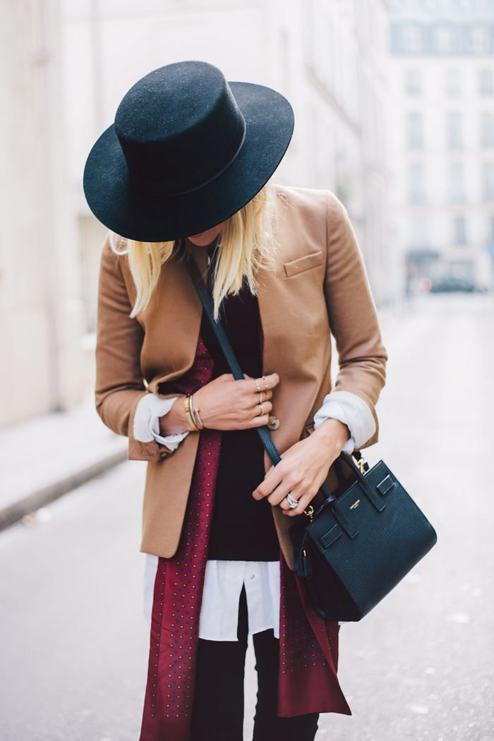 Bonjour | Damsel in Dior. Like the stiff brimmed hat better than floppy brimmed style!