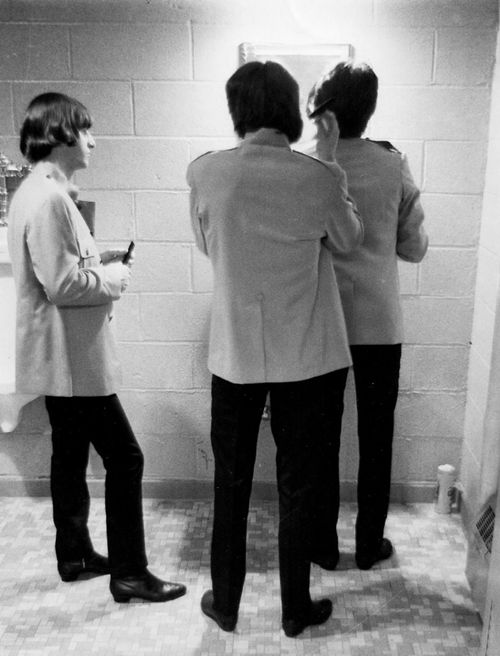 The Beatles backstage at Shea Stadium, 1965