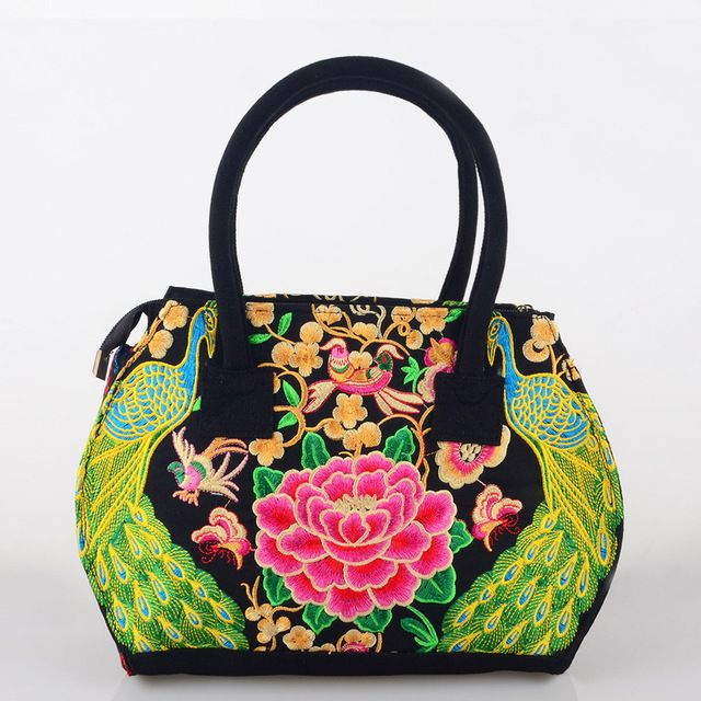 Pure Handmade Hard Case embroidery ethnic bags women handbag flower cross-body shoulder Lady shopping bags peacock embroidered