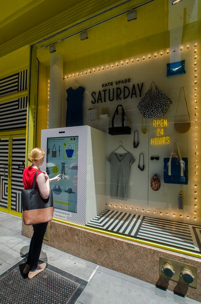 One of four walk-up shoppable interactive windows in formerly vacant retail stores by Kate Spade #Retal
