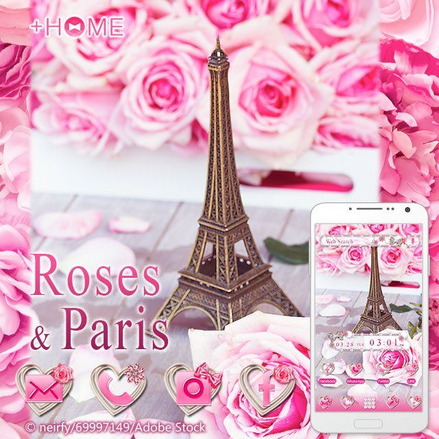 """Roses & Paris""   This theme will have you feeling Parisian!  Download Now:http://bit.ly/2np1R1J  #cute #wallpaper #design #icon #beautiful #plushome #homescreen #widget #deco"