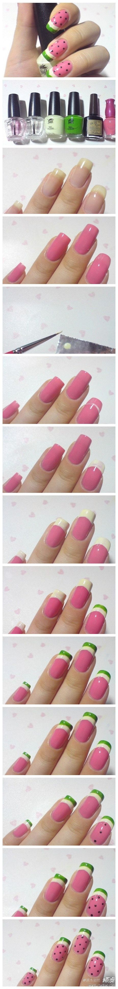Watermelon Nail Art! Great for summer time! Good luck <3