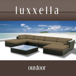 Luxxella Outdoor Patio Wicker MALLINA Sofa Sectional Furniture 7pc All Weather Couch Set TAUPE