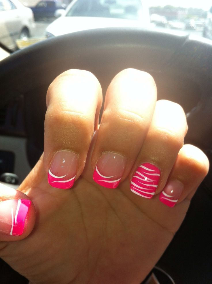 Cute pink zebra acrylic nails