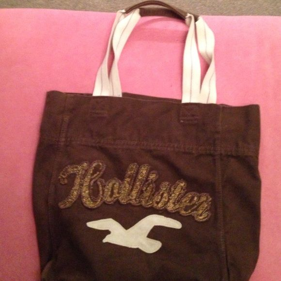 Hollister Tote Bag Brown With Gold Lettering Minimally Used Great For Anyone On The Go Or A Beach Bags To