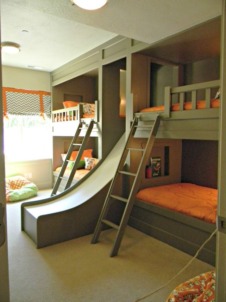 bed frame Bunk beds with a slide. My grown ass wants this! It'll be fun  getting out of bed in the morning. bunk beds awesome bed room L.