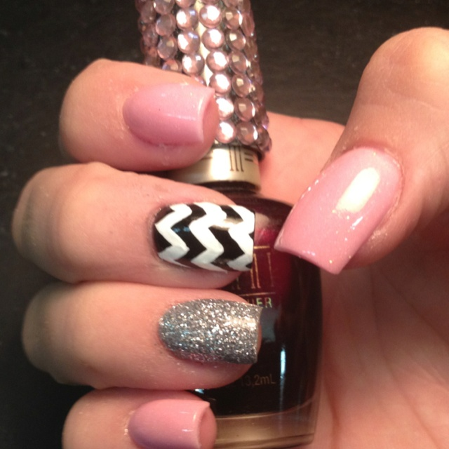 Chevron acrylic nails Celeste Young