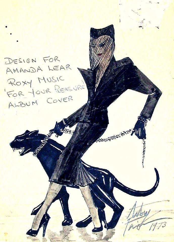Antony Price design for Amanda Lear, Roxy Music 'For Your Pleasure' album cover, 1973.