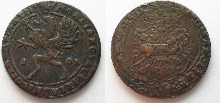 1628 Schweden SWEDEN 1 Ore 1628 MDCXXVIII Nykoping mint GUSTAV II ADOLPH copper VF # 95842 VF