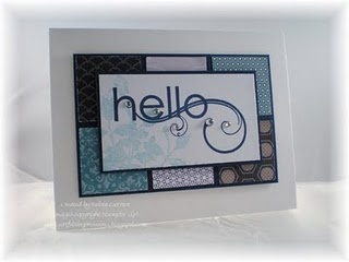 """Card Recipe: Stamps- My Friend; Paper- Whisper White, Night of Navy, Pocketful of Posies designer paper; Ink- Night of Navy, Baja Breeze; Accessories- 1 3/8"""" square punch, basic rhinestones, dimensionals"""