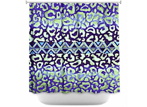 Ebi Emporium Fine Art Designer Shower Curtain, Artist Julia Di Sano on Dianoche Designs, Elegant Animal Print Leopard Pattern Tribal Aztec Geometric Triangles Ombre Abstract Painting Bathroom Decorative Home Decor Blue Green #blue #green #animalprint #leopard #aztec #tribal #geometric #pattern #indigo #navyblue #ombre #painting #bathroom #decor #showercurtain #shower #homedecor #dorm #stylish #modern #chic #style