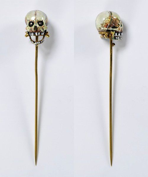 Auguste-Germain Cadet-Picard, Electric skull stick pin, 1867