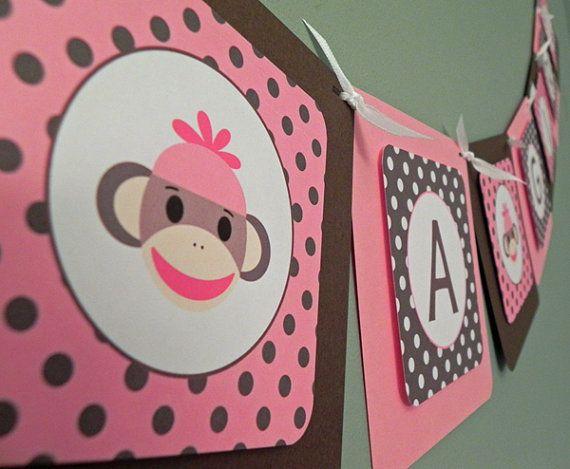 baby shower banner pink u0026 brown sock monkey itu0027s a girl baby shower decoration