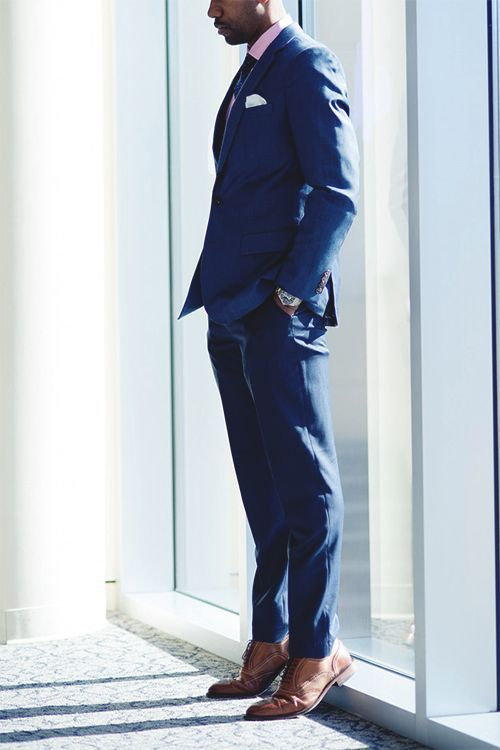 Royal blue suit with light brown shoes
